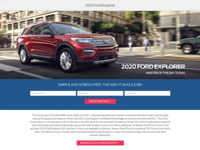 Miniaturka 2020 Ford Explorer website screenshot